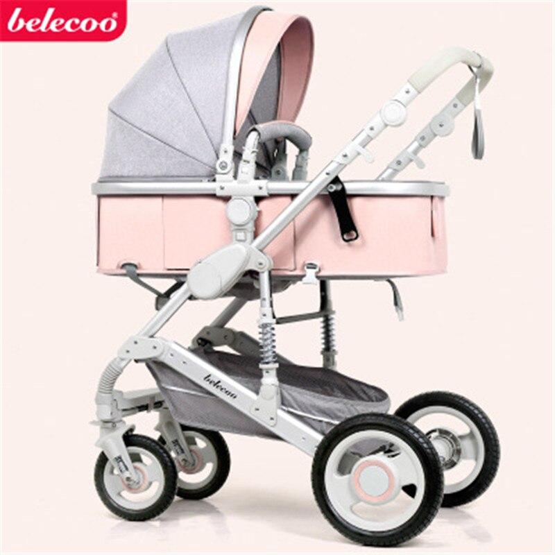 Belecoo Высокая Пейзаж Роскошная детская коляска 0-36 месяцев коляска надувной натуральный каучук колеса детская коляска - Цвет: light pink
