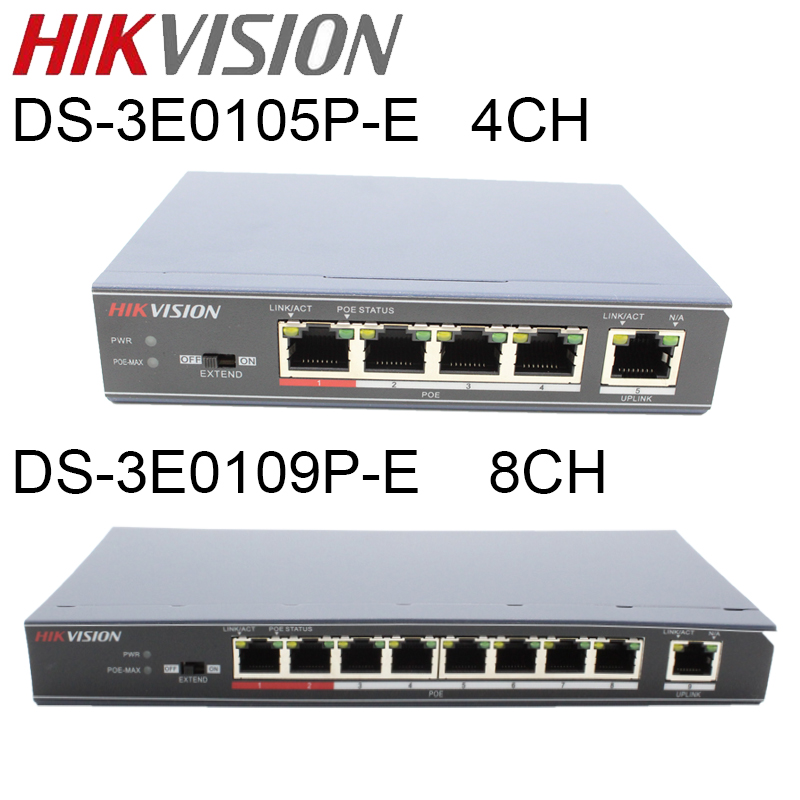 Hikvision 4 poe switch DS 3E0105P E DS 3E0109P E 8 ports switch 100Mbps Unmanaged 8