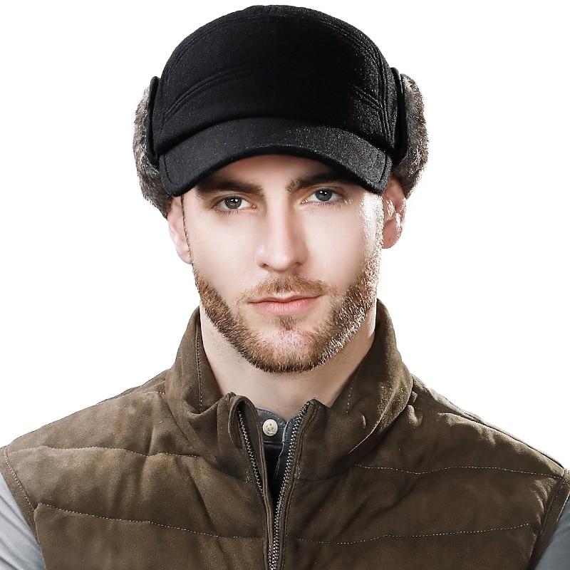Men s Baseball Cap Winter Warm Earflap Dad Hats Wo Faux Fur Russia ... b76f937f6308