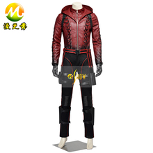 GrArrow Season 3 Arrow Roy Harper Cosplay Arsenal Roy Harper Battleframe Costume Red Leather Hoodie Jacket Full Set