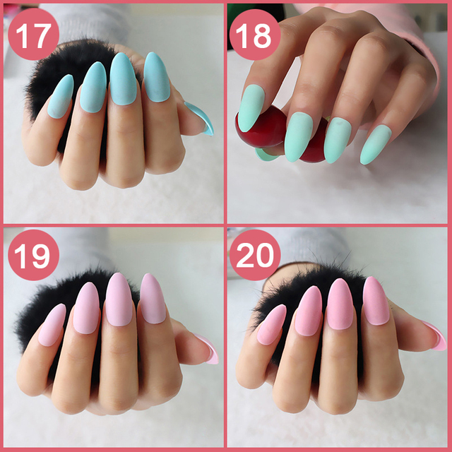 24pcs/set full cover Matte False Nail tips Sharp Pointed Soft Pink Nude Red Black Blue fake stiletto nails Pure candy colour
