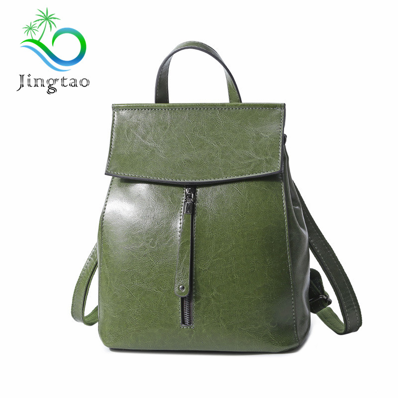 2018 New high quality fashion design oil wax leather backpack leather women bags Korean version of the wild leather shoulder bag summer new women leather handbags shell bag shoulder bags first layer of cowhide korean version of the wild fashion handbags