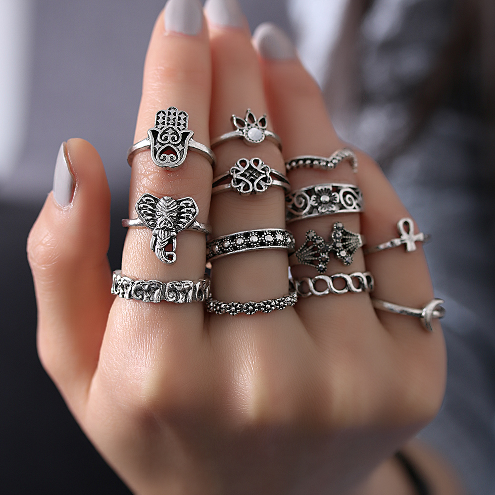 13pcsSet Vintage Women Bohemian Wedding Jewelry Elephant Moon