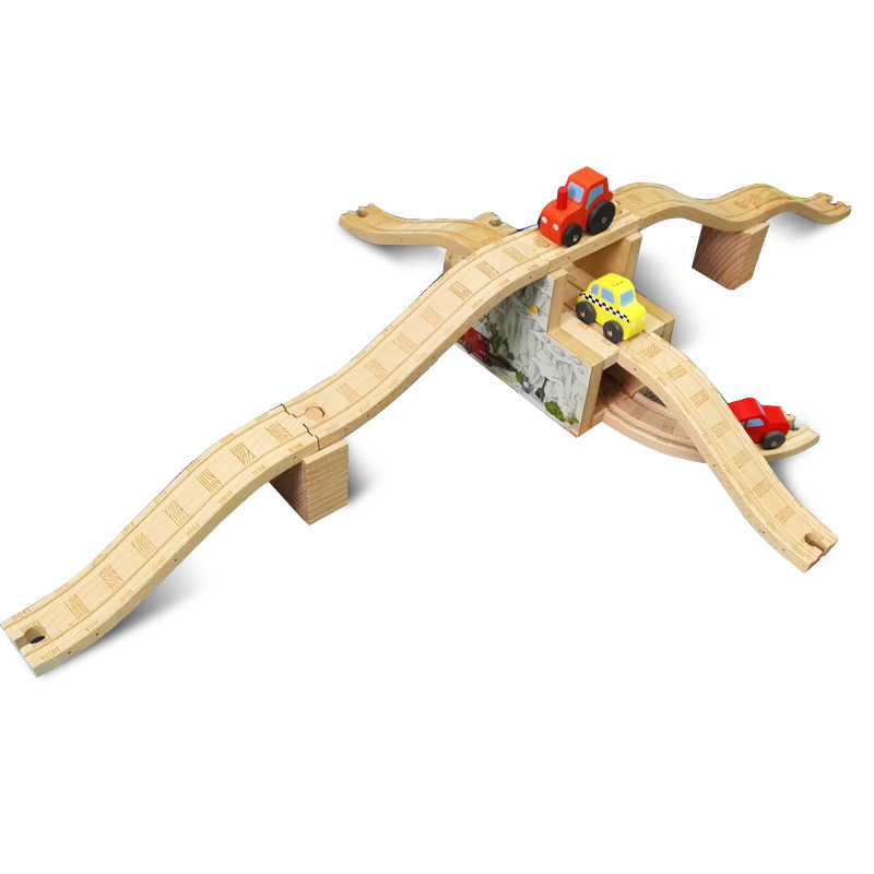 P026 Luxury Triplex combination of snow Bridge traffic hub can freely assembling toys compatible with  wooden train track