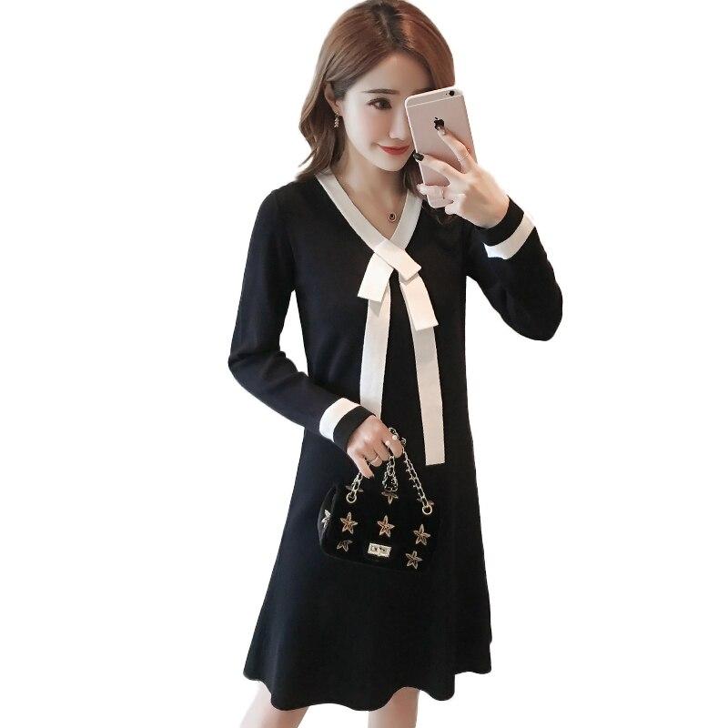 Spring Black Knitting Nursing Dresses For Pregnant Woman -2558