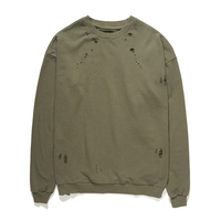 High Quality 2017 Fashion New Design Hole Solid Cotton Pullovers Winter Loose Hip Hop Pullover Men