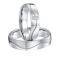 Пользовательские его и ее Свадебная пара Серебристый Белый цвет золотистый альянсов titanium стали Обручальное Обещание Кольца наборы для пар
