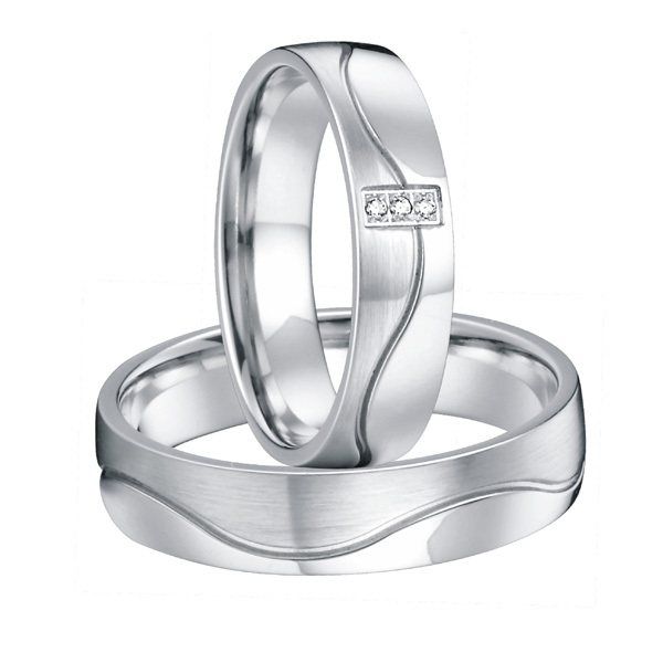 Custom his and hers Bridal Pair silver white gold color alliances titanium steel wedding band promise rings sets for couples