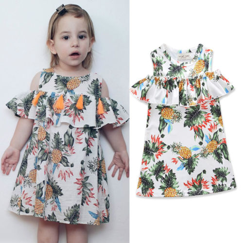 5c9fe1566f51 2018 Fashion Toddler Baby Girls Clothes Summer Dress Happy Kids Off ...