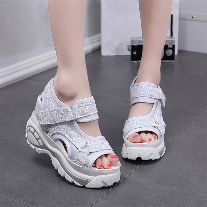 2019 Women Fish Mouth Platform High Heels Wedge Gladiator Sandals Fashion Glitter Summer Shoes Woman Black White Zapatos Mujer