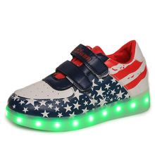 USB Charging LED Kids Shoes Sport Walking Kids LED Light Shoes Boys Girls Flag Sneakers Luminous Lighted Online Stores