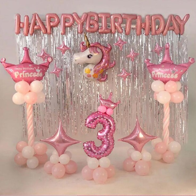 Foil Unicorn Balloons 1st Birthday Party Decorations Kids Happy Letter Latex Decor Baby Shower