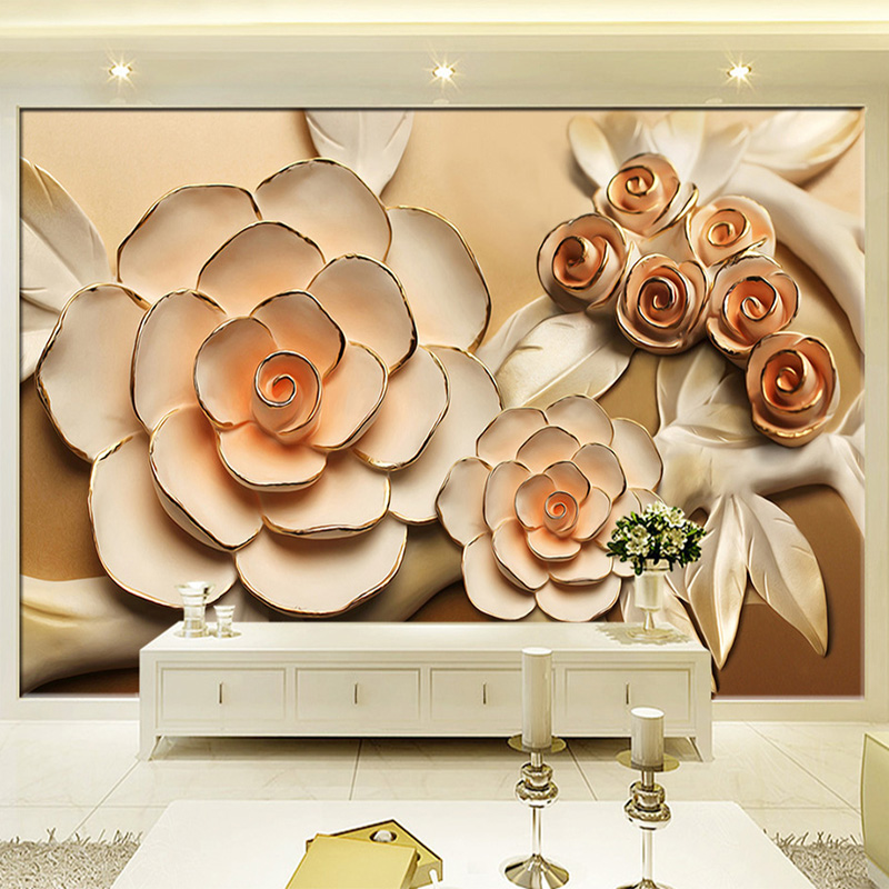 Photo Wallpaper 3D Stereo Relief Flowers Mural Modern Simple Living Room TV Backdrop Wall Elegant Decor Papel De Parede Floral европейский стиль vintage wallpaper 3d stereo relief wood fiber mural кофейня ресторан заставка wall creative decor wallpaper