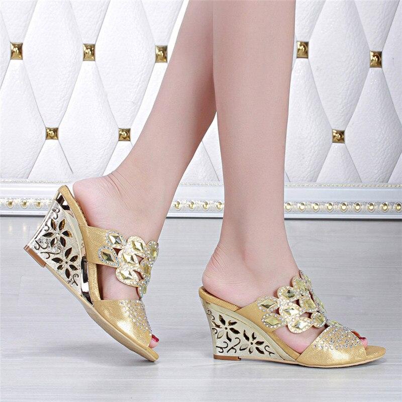 Zapatillas sparrow Las Moda La G Tacón Alto Cuña Plataforma De Coreano Zapatos Mujeres Mujer Verano 2018 Oro Peep gdwwXT7