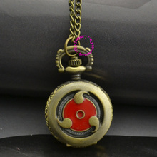 fashion brass bronze color vintage retro woman lady girl ladies child Naruto red eye pocket watch necklace hour clock with chain