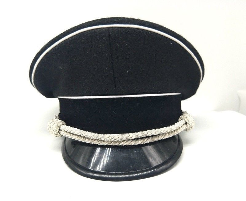WW2 M32 German Elite Whipcord Officer Hat Cap W White Chin Pipe Silver Cord