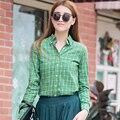 Coreia Do Estilo estudante Primavera Nova Blusa De Algodão Xadrez Camisa de Manga Longa Mulheres Plus Size Camisas de Seleção