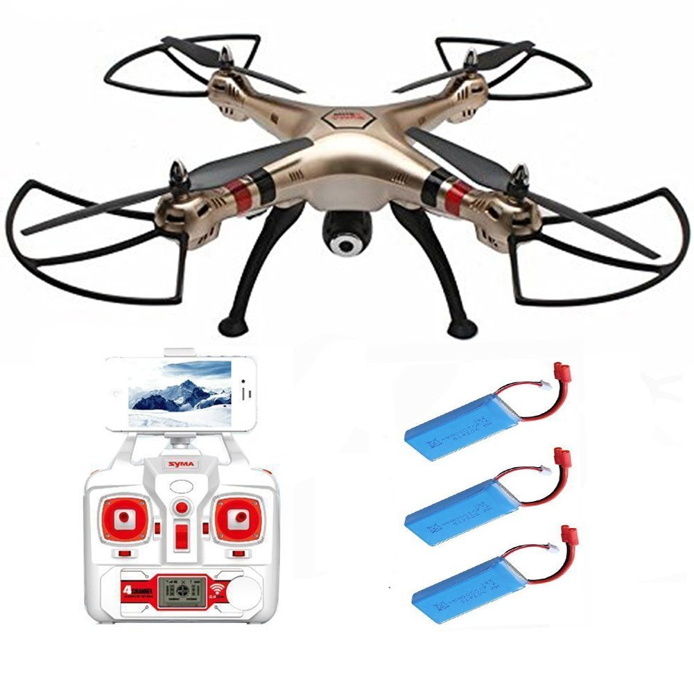 EBOYU(TM) Syma X8HW + 2pcs 2000mAh Battery 4 Channel 6 Axis Gyro 360-Degree 3D Wifi FPV RC Drone RTF QuadcopterEBOYU(TM) Syma X8HW + 2pcs 2000mAh Battery 4 Channel 6 Axis Gyro 360-Degree 3D Wifi FPV RC Drone RTF Quadcopter