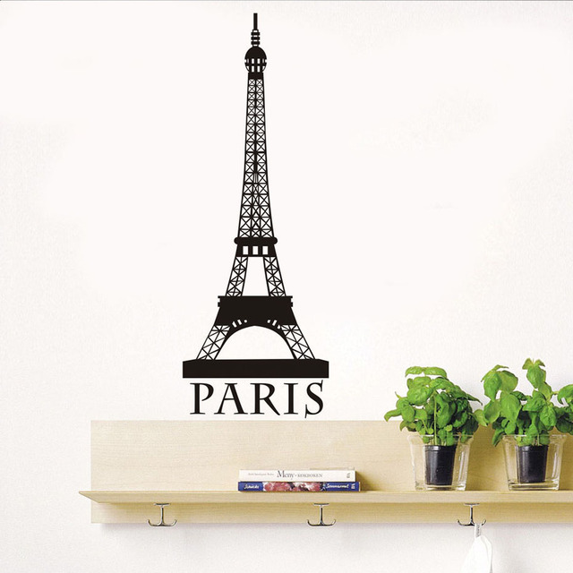 Romantic Paris Eiffel Tower Wall Art Sticker For Living Room Vintage Wallpaper Posrer Boys And