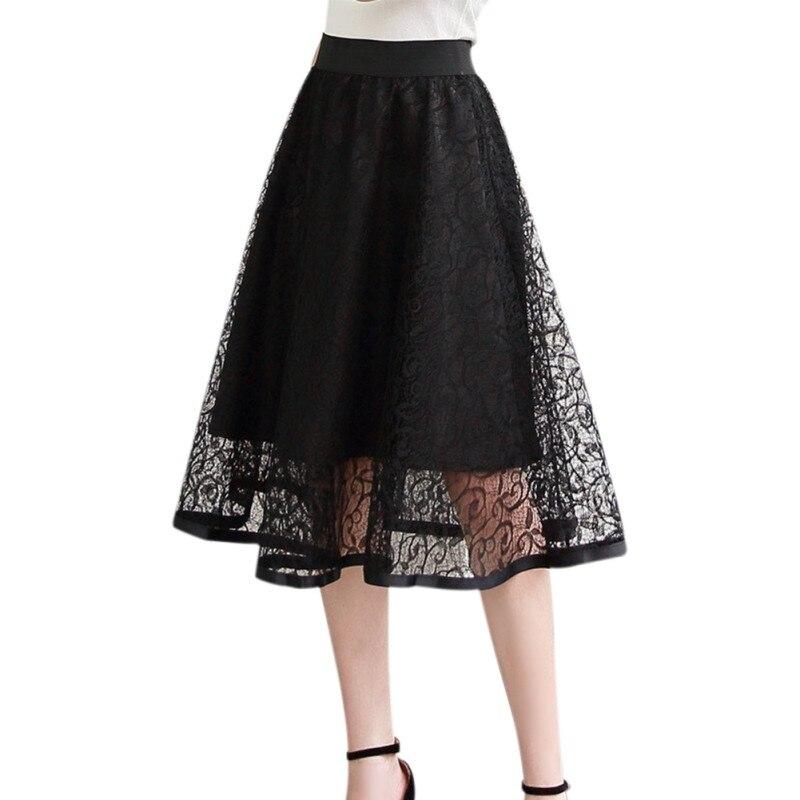 a86fd6c40bf Faldas midi de encaje vintage de cintura alta falda de malla tutú ahueca  hacia fuera una línea mujeres casual fiesta boho falda gran swing negro