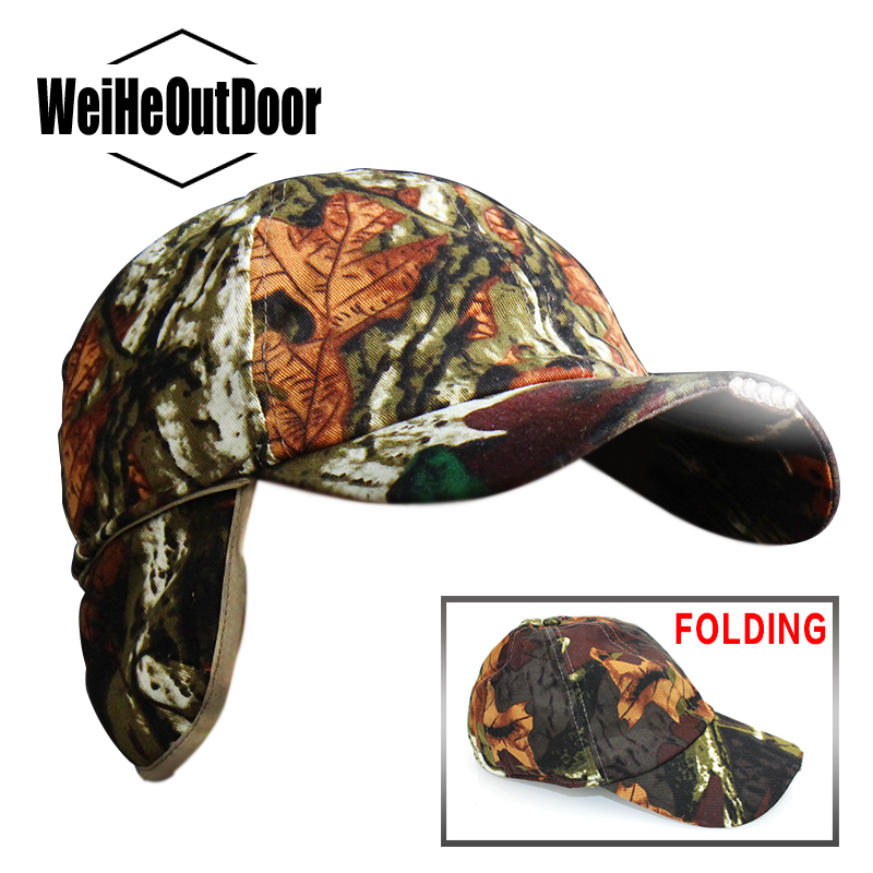 Weihefishing Winter Warm Earflap Men's Cap with 5 LED Light 1pc/lot Camouflage Soft Cotton Baseball Hat Outdoor Hunting Fishing