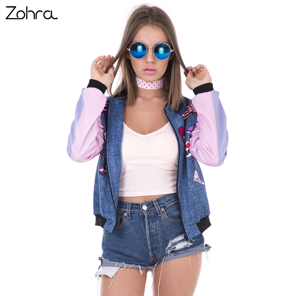 Zohra New Arrival Women Bomber   Jacket   Flying Pig Printing Casual Jaqueta Feminina Fashion Sexy   Basic     Jacket   for Woman
