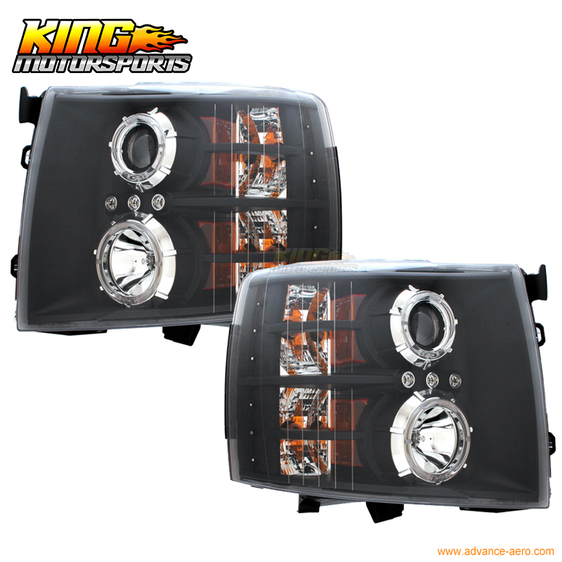 For HID 8000K 2007 2010 Chevy Silverado Halo Projector BLK Clear Headlight LH RH US Domestic Free Shipping