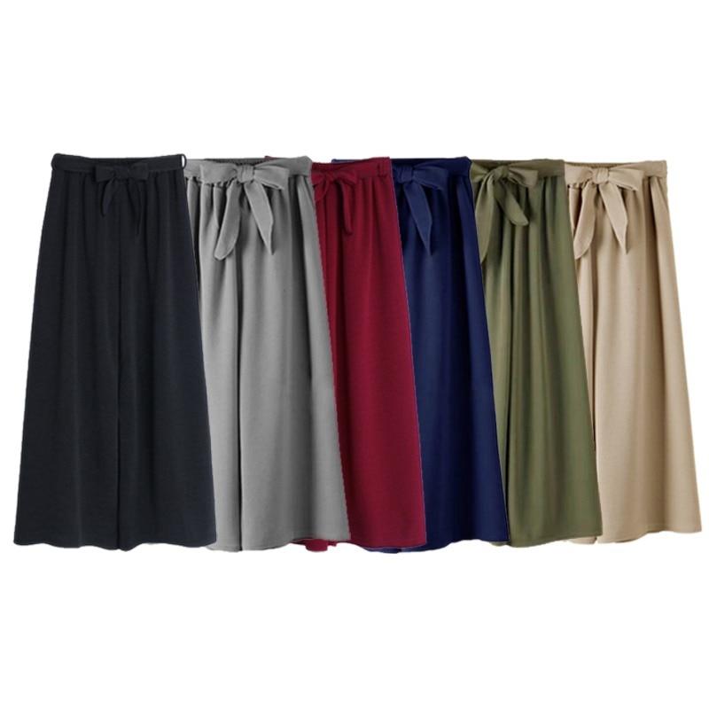 Fashion ElastIc Waist Summer   Wide     Leg     Pant   Pocket Bow Belt Trousers For Women Casual Loose   Wide     Leg     Pants   Casual   Pants   6 Colors
