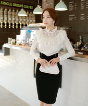 Original New 2016 Brand Shirt Woman Autumn and Winter Slim Vintage Ruffled Collar White Women Blouse Wholesale