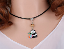 Crystal Beads Enamel Panda Necklace Pendant Charms Choker Collar Statement Chain Accessories For Women Fashion Jewelry HOT V20