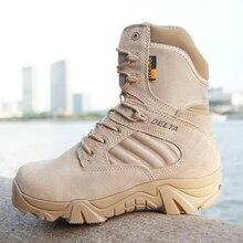 Зима-осень мужчин Армейские сапоги бренд качество Специальные силы тактические Desert Combat лодки открытый обувь кожаные ботинки снега