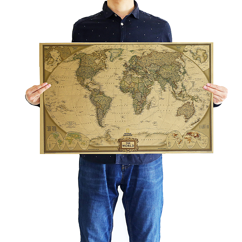 DLKKLB Vintage Retro Matte Kraft Paper World Map Antique Poster Wall Sticker Home Decora 71x46cm Decorative Paintings