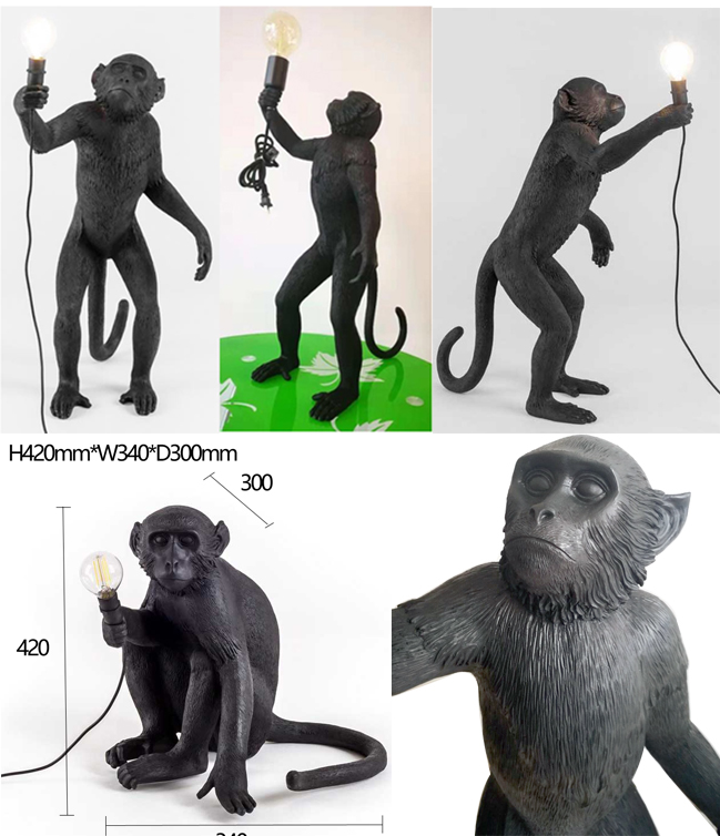 Star Wish Nordic Creative Monkey Lamp Hemp Rope Monkey  Pendant Light  Art  Nordic Replicas Resin Hanging Monkey Lamp