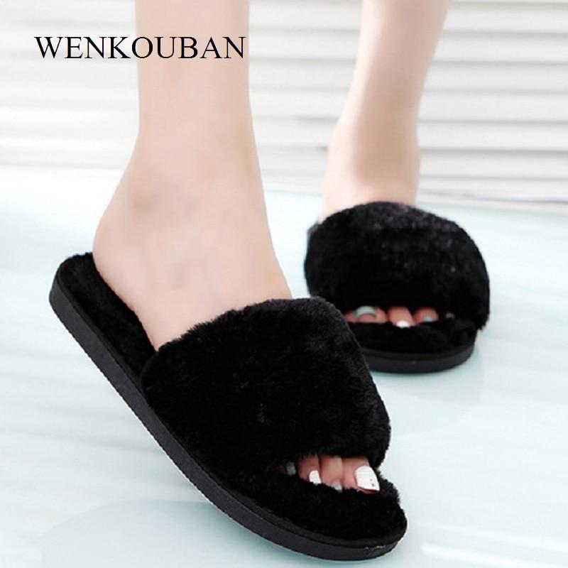 Women Fur Slippers Winter Indoor Shoes