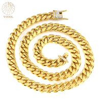 12mm 61cm Hiphop Bling Jewelry Necklace For Men Iced Out Miami Curb Cuban Link Chain Gold