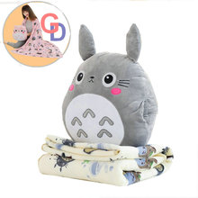 Japan action figure totoro animation hand warmer with Soft Flannel blanket font b Stuffed b font