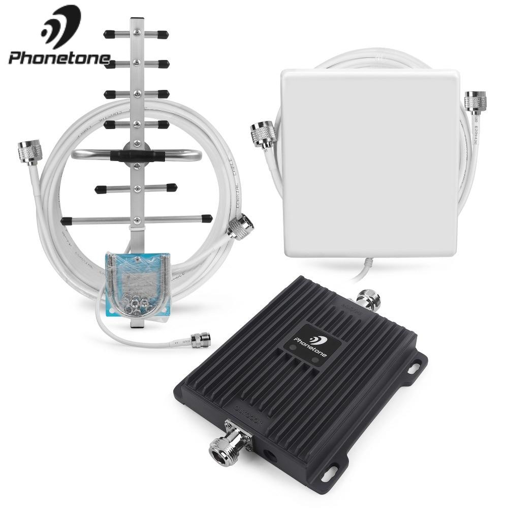 Amplificateur de Signal de téléphone portable 2G EGSM 900 MHz 3G WCDMA 2100 MHz Gain 65dB amplificateur répéteur de réseau GSM amplificateur + antennes Yagi - 2