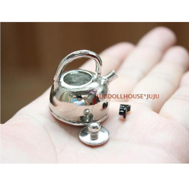 1:12 Dollhouse Miniature Accessories Metal Kettle Pretend Play Kitchen Toys fC