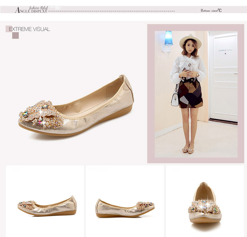 2d441eaf3440 Related Products. Fashion women Ballet shoes leisure spring pointy ballerina  bling Rhinestone flats shoes princess shiny Crystal wedding