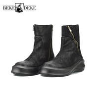 Top Brand Cow Genuine Leather Fashion Thick Platform Mens Martin Boots Harajuku Zipper Round Toe Man Footwear Vintage Rock Shoes