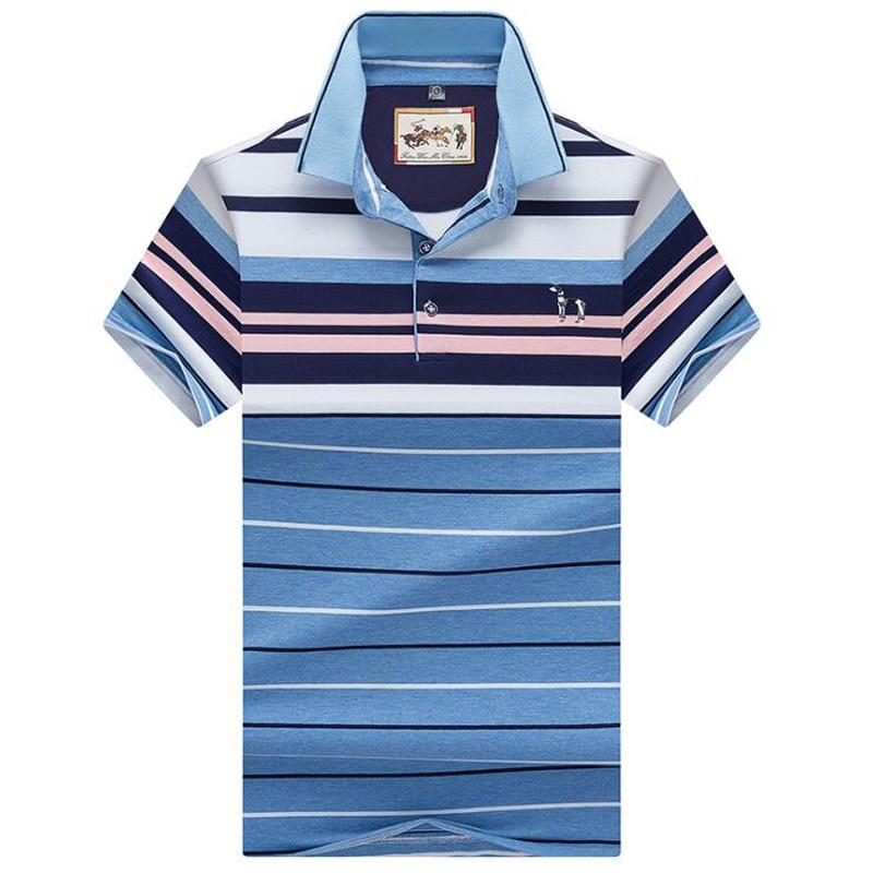 Kiváló minőségű férfi póló 2019 új márka Cotton nyári csíkos polo férfi Üzleti alkalmi férfi szilárd póló póló márka ruházat