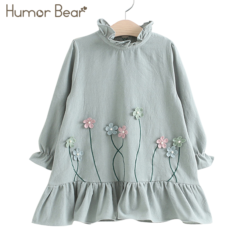 Humor Bear Children Clothes Dress New Lovely Princess Dress Children Clothes Printing Flowers Kids Dresses Girls Dress детские кроватки feretti ricordo