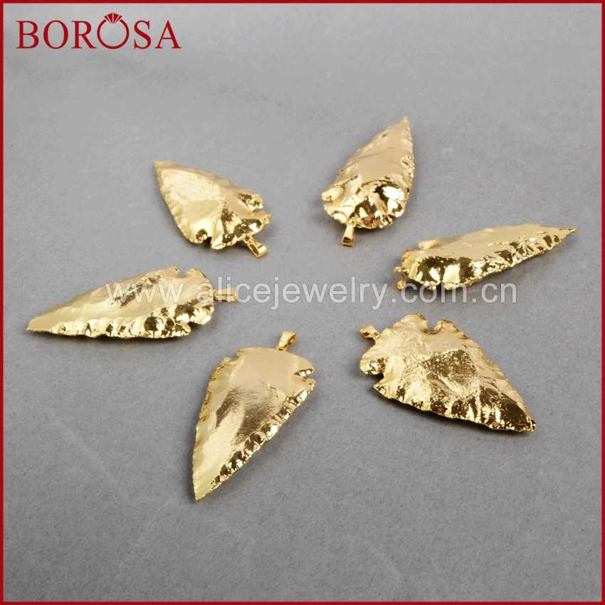 BOROSA Clearance Sale 5/10PCS Arrowhead Full Gold Color Natural Jaspers Gems Pendant Beads Jewelry Pendants for Necklace G0506
