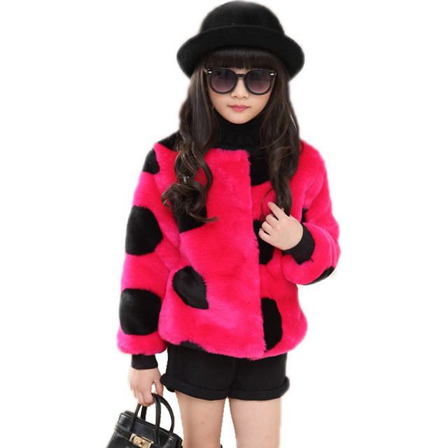 Kids Coats Girls Winter 2017 Fashion Faux Fur Thicken Warm Polka Dot Winter Jacket Brand Casaco Infantil Girl jackets Coat