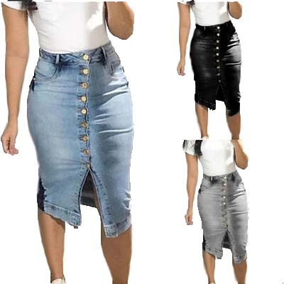 diseño de calidad 25e2d 75336 US $12.31 23% OFF Women Summer Knee Length Denim Skirts Slim Bodycon Button  Jeans Skirt Faldas Largas Mujer-in Skirts from Women's Clothing on ...