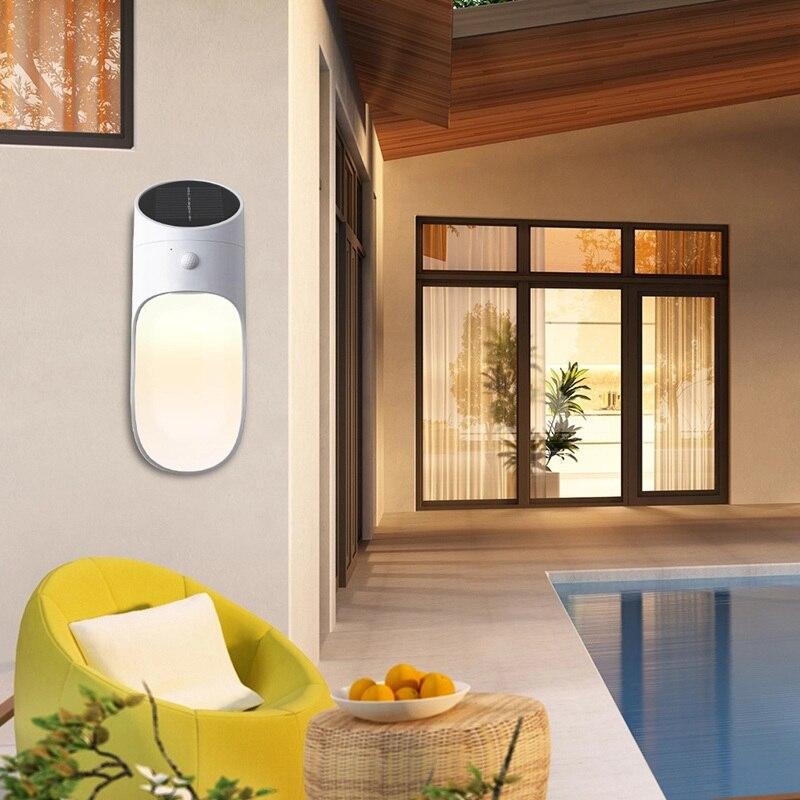 Led Solar Power Light Outdoor Garden Waterproof Lawn Wall Lamp IP65  Modern Radar Human Body  Motion Sensor Lighting