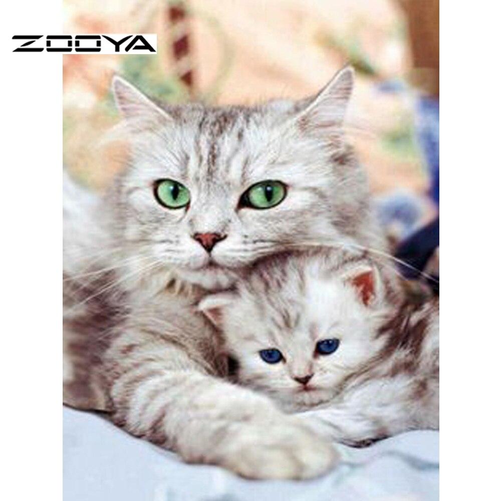 ZOOYA Nieuwe aankomst! Twee katten Diy Diamond Painting Kits - Kunsten, ambachten en naaien