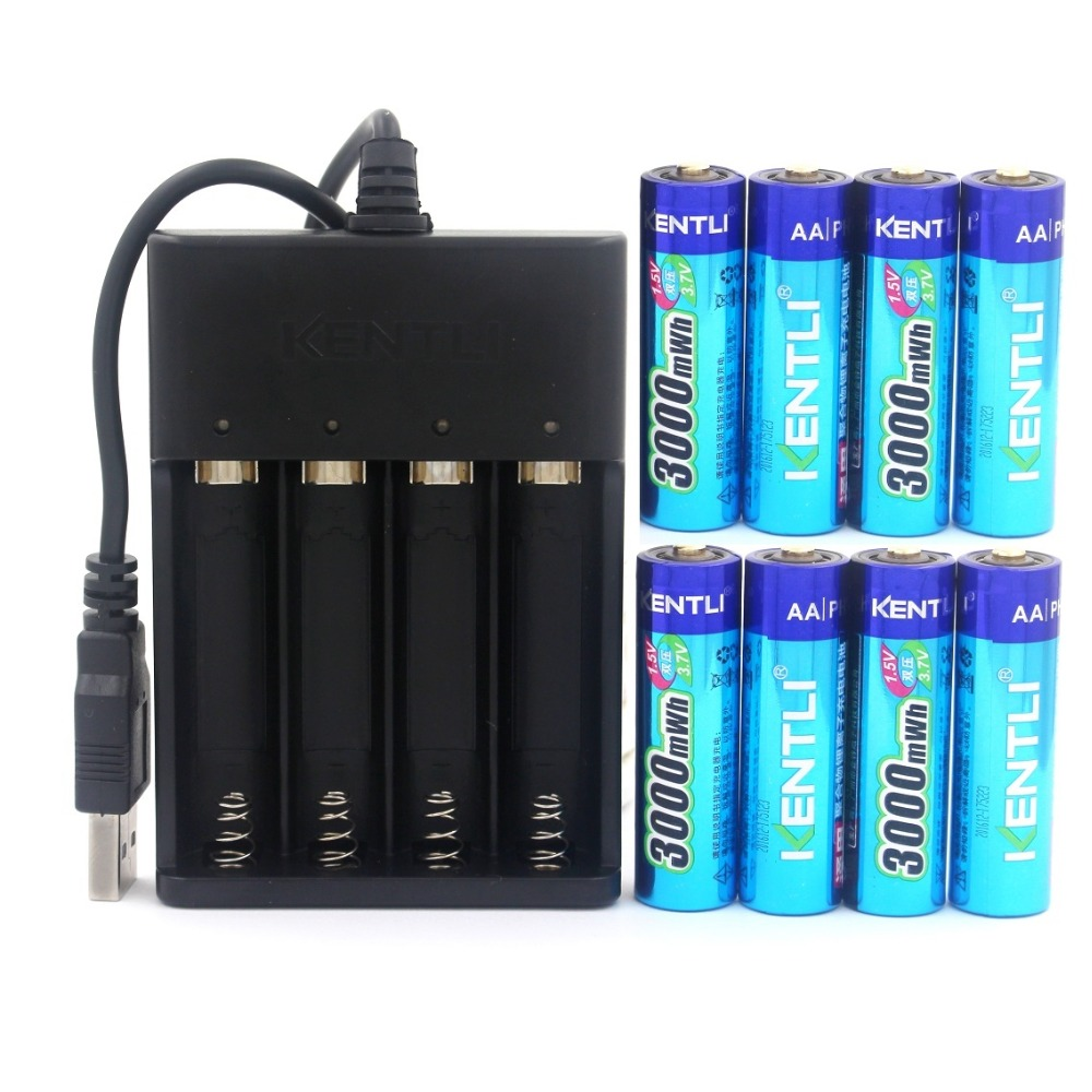 KENTLI 8pcs 1.5v 3000mWh AA rechargeable Li-polymer li-ion polymer lithium battery + USB Charger