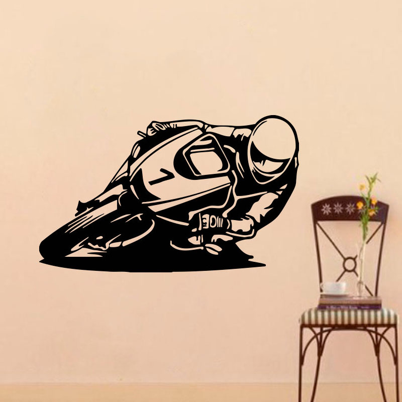 Motorcycle recing home decor motorcycle wall stickers for Motorcycle decorations home