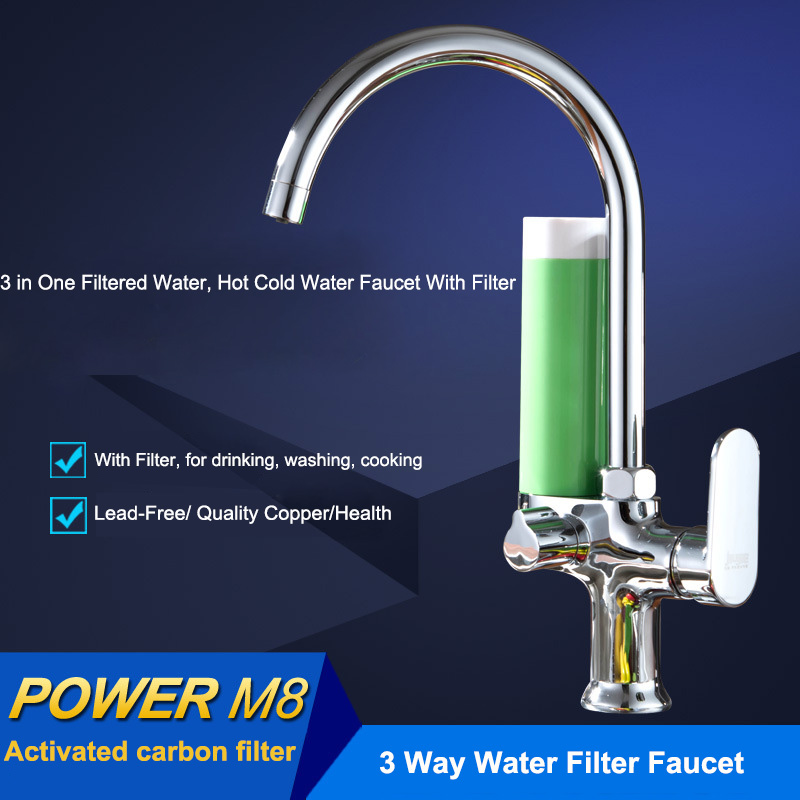 New Design Triflow Chrome Kitchen Filter Faucet Lead Free Drinking Two Spout 3 Way Filter Faucet